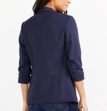 Blazer: https://www.reitmans.com/en/ruched-%C2%BE-sleeve-open-blazer/403224.html?dwvar_403224_color=Evening%20Blue&cgid=Women_Jackets#start=25